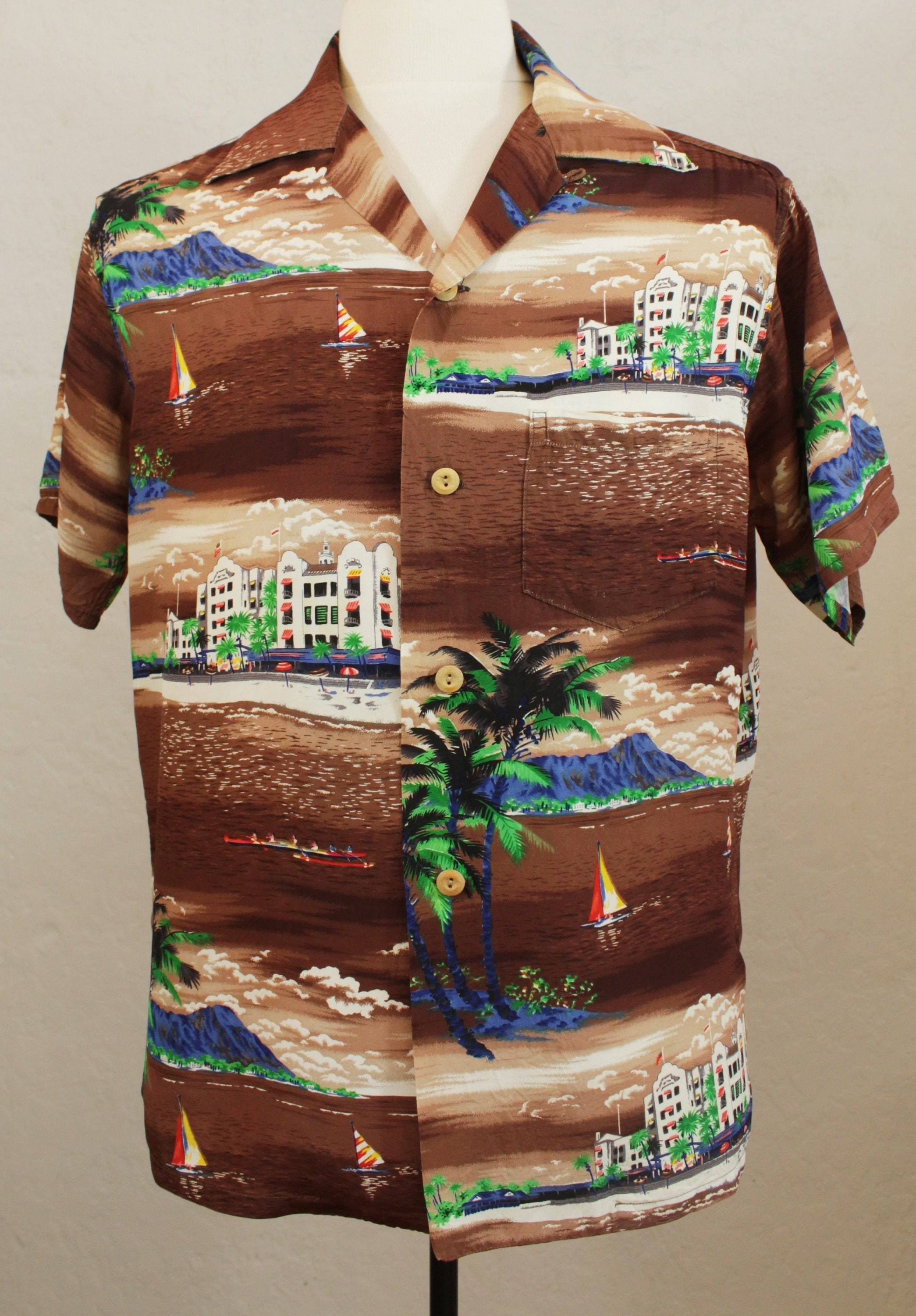 1950s Men's Ties, Bow Ties – Vintage, Skinny, Knit 1950s Iolani Mens Hawaiian Print Shirt in Rayon Crepe With Button LoopBrown Aloha Size L $195.00 AT vintagedancer.com