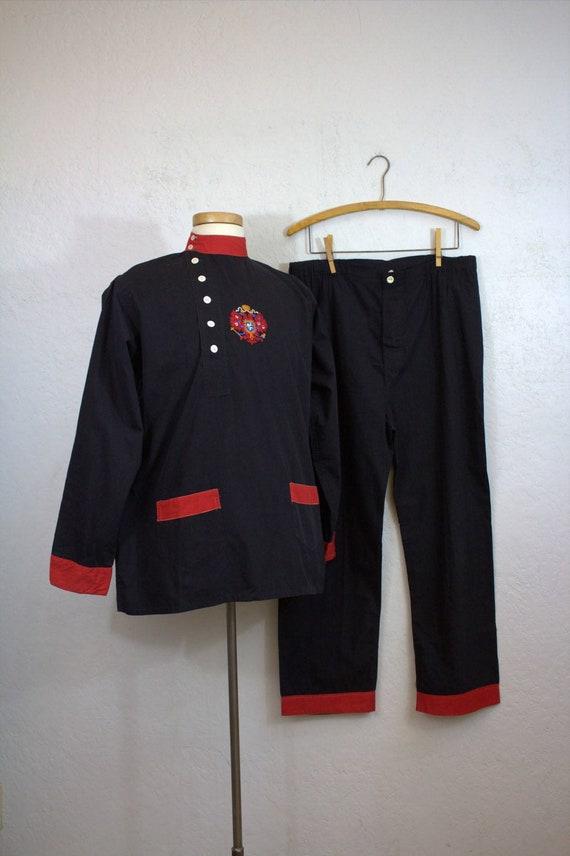 "1930's ""Horner Pajamas"" Men's Black Cotton Broadcl"