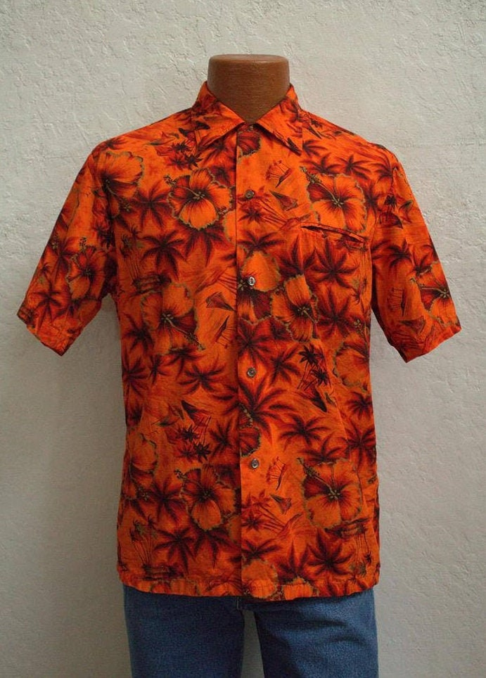1950s Men's Ties, Bow Ties – Vintage, Skinny, Knit 1950s Made in California Mens Hawaiian Shirt With Button LoopRed  Orange Cotton Size Medium $85.00 AT vintagedancer.com