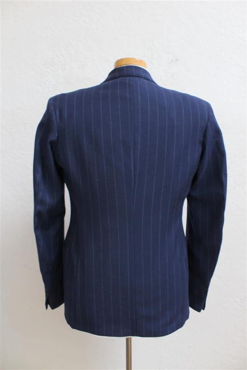 On Sale 1940 S Men S Pinstripe Suit Navy Blue Wool Etsy