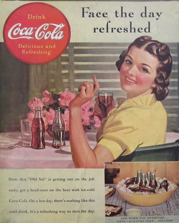 hombre Cuevas De Cocina Etc Signo de coque Coca Cola Botellas Vintage sign