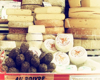 Paris Photography, Paris Market, Fine Art Photograph, Cheese Shop, Kitchen Art, Parisian Decor, Beige Wall Art, French Decor, Paris Print