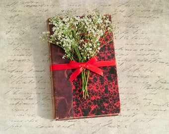 Vintage Book Photography Nostalgic Fine Art Print, Distressed Red Book, Home Decor, Nostalgic Wall Art, Book Lover and Writers Gift