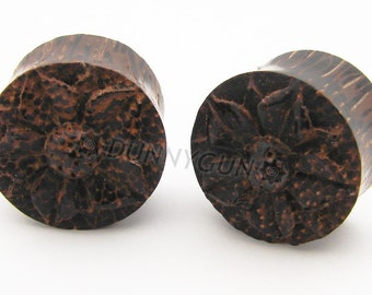 "5/8"" Pair Carved Cherry Blossom Flower Palm Wood Gauged Plugs Organic Hand Carved Body Piercing Jewelry"