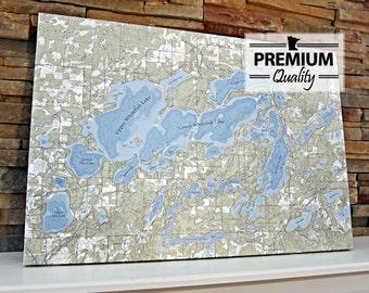 Whitefish Chain of Lakes - Canvas Lake Map (Premium Quality)