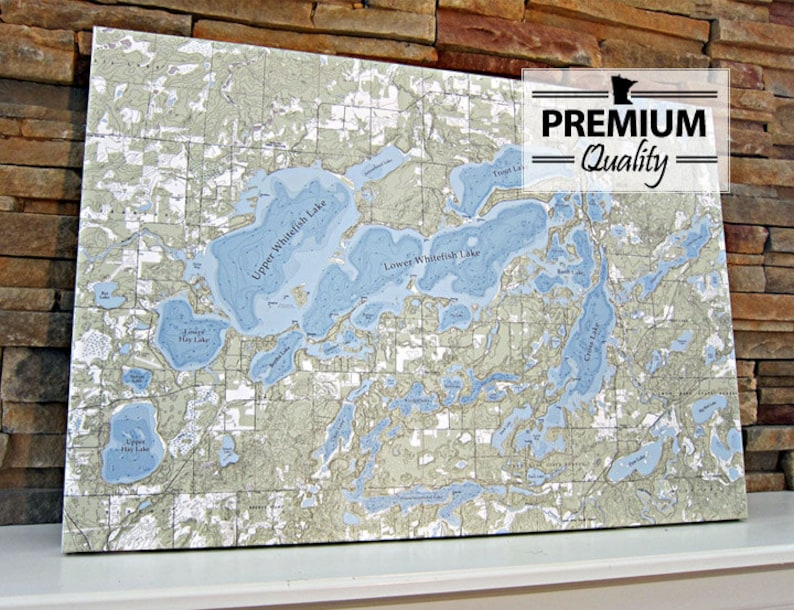 Whitefish Chain of Lakes  Canvas Lake Map Premium Quality image 0