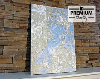 Gull Lake - Canvas Lake Map (Premium Quality)