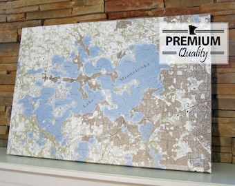 Lake Minnetonka - Canvas Lake Map (Premium Quality)