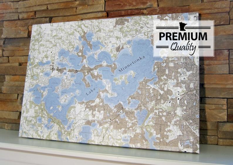Lake Minnetonka  Canvas Lake Map Premium Quality image 0
