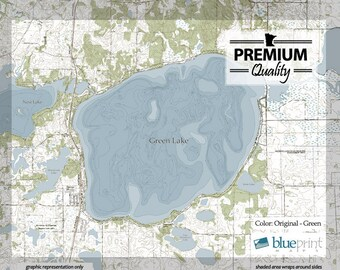 Green Lake - Canvas Lake Map (Premium Quality)