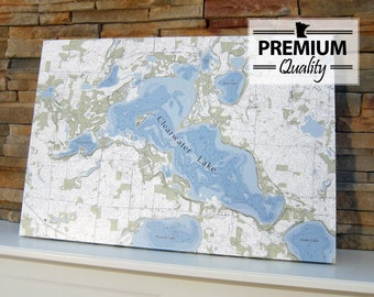 Clearwater Lake - Canvas Lake Map (Premium Quality)