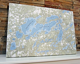Whitefish Chain of Lakes - Canvas Lake Map (Standard Quality)