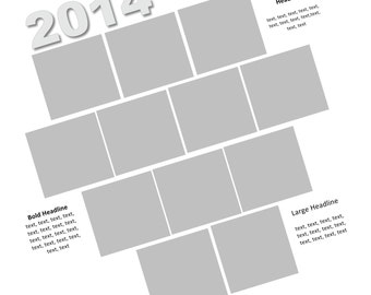 Year in Review: 12x12 Scrapbook Page Template used with Storybook Creator or Panstoria Artisan