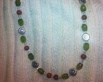 Handcrafted Orange and Green Glass Beaded Necklace