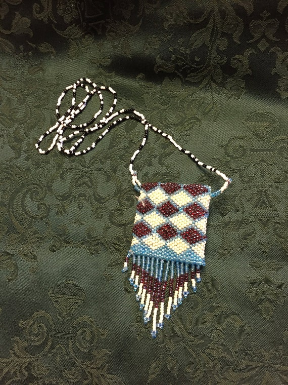 Vintage Beaded Boho Mini Purse Necklace