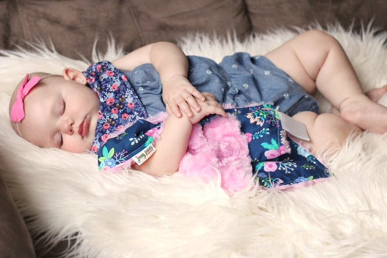 Baby Girl Blanket. Minky Baby Blanket. Mini Lovey. Mini image 0