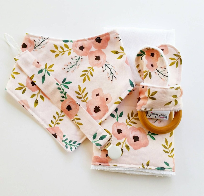 Blush Pink Bandana Bib Natural Teething Ring with Bunny Ears image 0