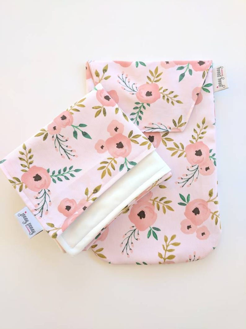 Diaper Clutch and Waterproof Changing Pad in Blush Floral for image 0