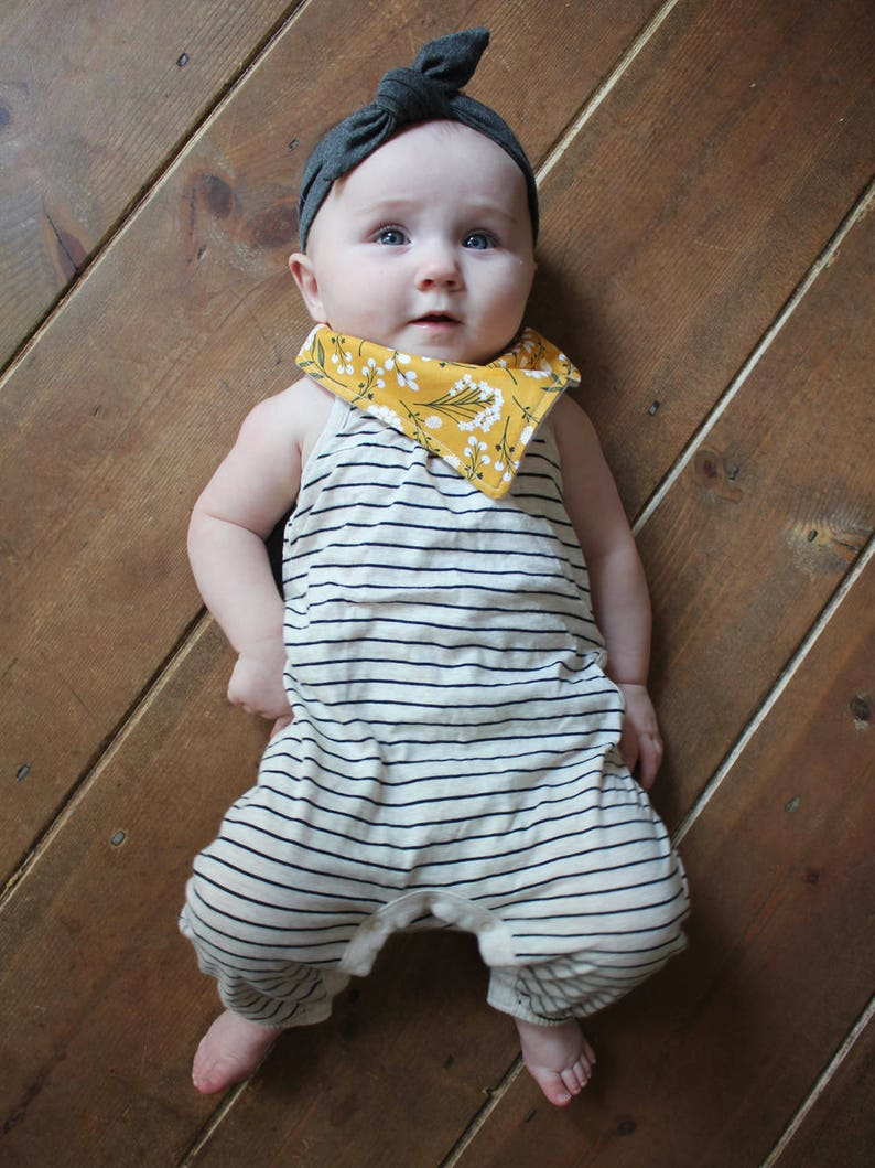 Bandana Bib and Pacifier Set in Mustard Blooms. Yellow Floral image 0