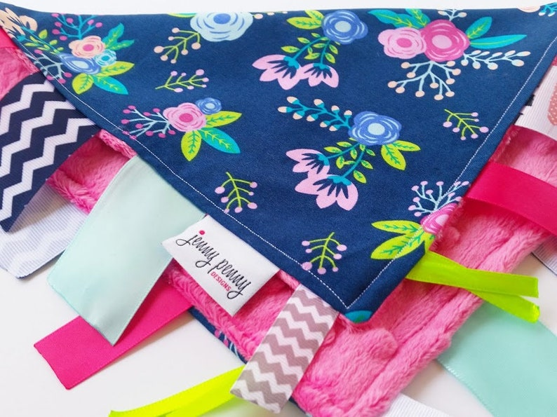Baby Tag Blanket Minky Dot Tag Blanket in Navy Floral and Pink image 0