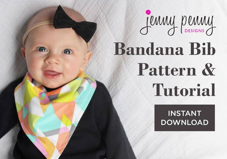 Bandana Bib Pattern and Tutorial. Sewing Pattern and Tutorial image 0