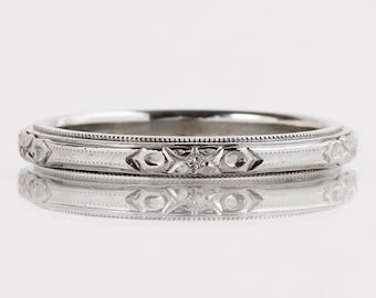 7dd113e613d Antique Wedding Band - Antique 14k White Gold Etched Wedding Band
