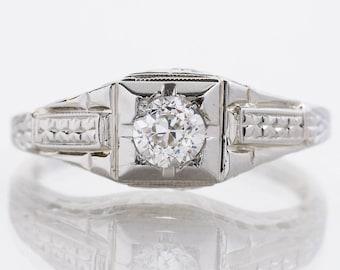 "Antique Engagement Ring - Antique ""1934"" 18k White Gold Diamond Engagement Ring"