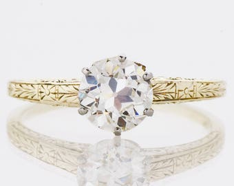 Antique Engagement Ring - Antique 1910's Two-Tone Diamond Solitaire Engagement Ring