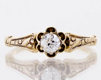 Antique Engagement Ring - Antique Victorian 14k Yellow Gold Diamond Engagement Ring