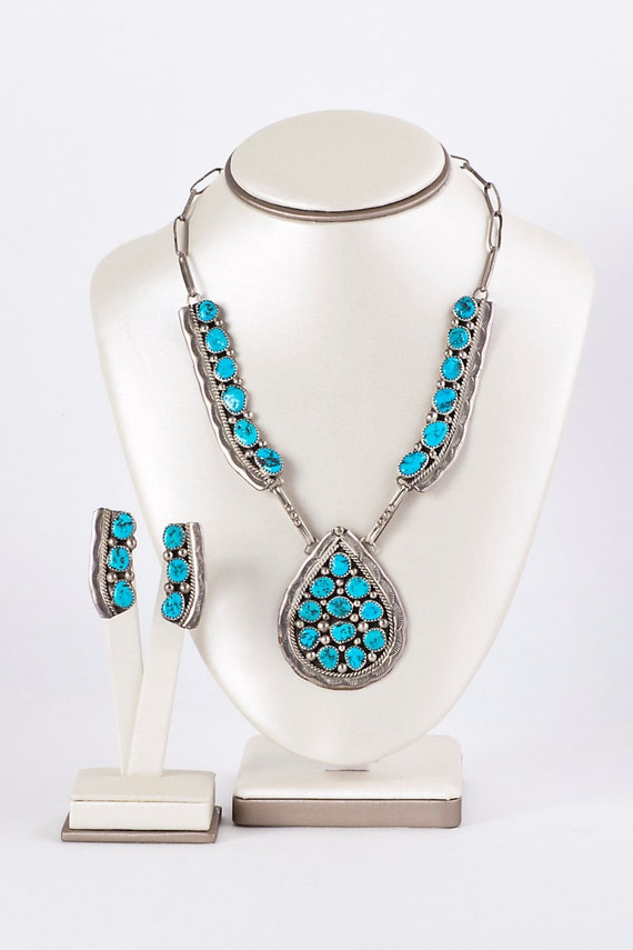 Turquoise Necklace and Earring Set - Vintage Navaj