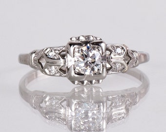 Antique Engagement Ring - Antique 1930s 18K White Gold Diamond Engagement Ring