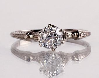 Antique Engagement Ring - Antique Edwardian 14K White Gold Diamond Engagement Ring
