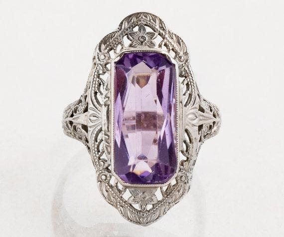 Antique Ring - Antique Amethyst Ring-14k White Gol