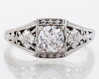 "Antique Engagement Ring - Antique 18k White Gold ""Belais"" Diamond Engagement Ring"