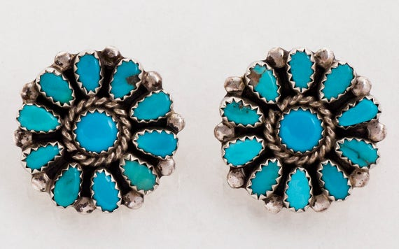 Vintage Buttons - Vintage Sterling Silver Turquois