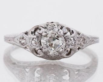 Antique Engagement Ring - Antique 1910's 18k White Gold Diamond Enagagement Ring