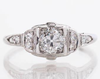 Antique Engagement Ring - Antique Art Deco Platinum Diamond Engagement Ring