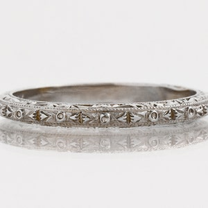 Floral Band with Millgrain Engraved Wedding band in 14kWhite  Gold ST62692 Sculptural Style Eternity Band