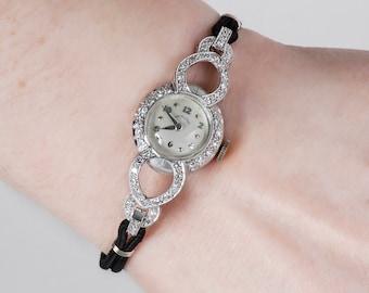 Vintage Watch - Vintage 1930's Ladies Hamilton Platinum Diamond Wrist Watch