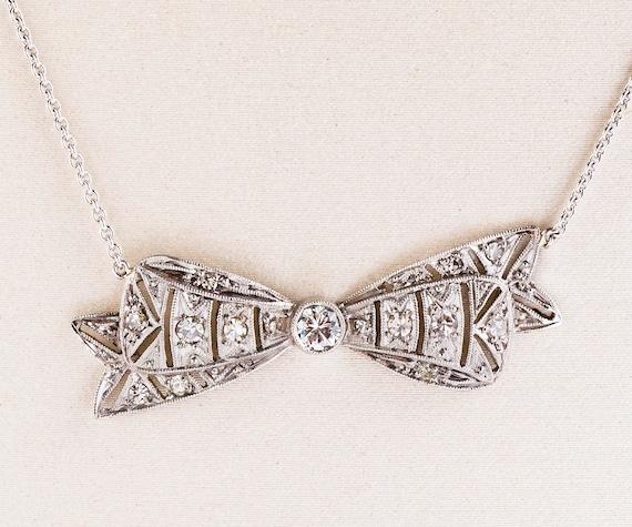 Antique Necklace - Antique Platinum Diamond Bow Co