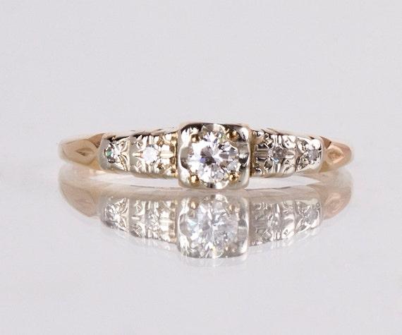 Vintage Engagement Ring - Vintage 1940s 18K Yellow