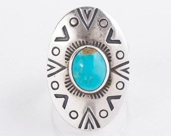 Turquoise Ring - Vintage Sterling Silver & Turquoise Ring