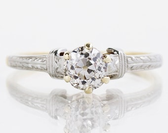 Antique Enagagement Ring - Antique 10k White & Yellow Gold Diamond Solitaire Ring