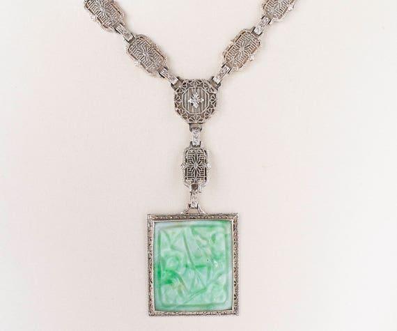 Antique Necklace - Antique Circa 1910 14k White Go
