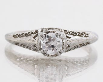 Antique Engagement Ring - Antique Edwardian 18k White Gold Filigree Diamond Engagement Ring