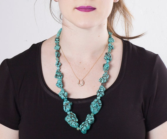 Turquoise Necklace - Vintage 1940's Old Pawn Rare