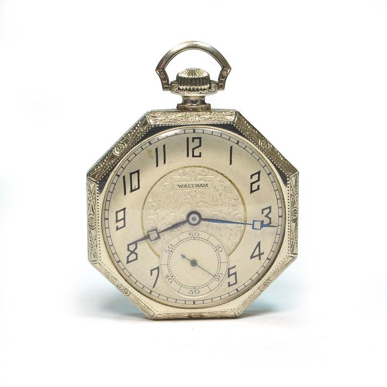 ea1cadaf671e0 Antique 1930's Waltham 14K White Gold Pocket Watch