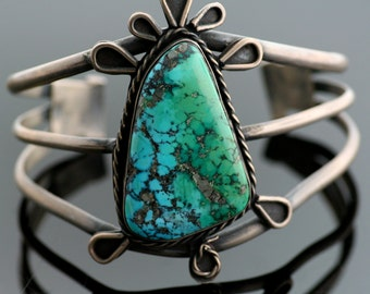 Vintage Cuff - Vintage Navajo Sterling Silver and Turquoise Cuff Bracelet