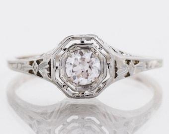 Antique Engagement Ring - Antique 18k White Gold Diamond Engagement Ring