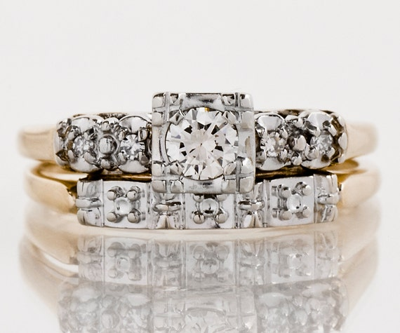 Vintage Wedding Set Vintage 1940 S Two Tone Diamond Etsy